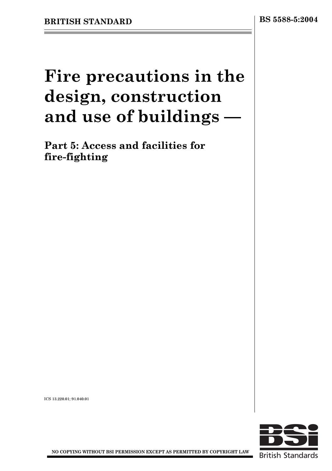 Bs 5588 5 2004 Fire Precautions In The Design Construction By