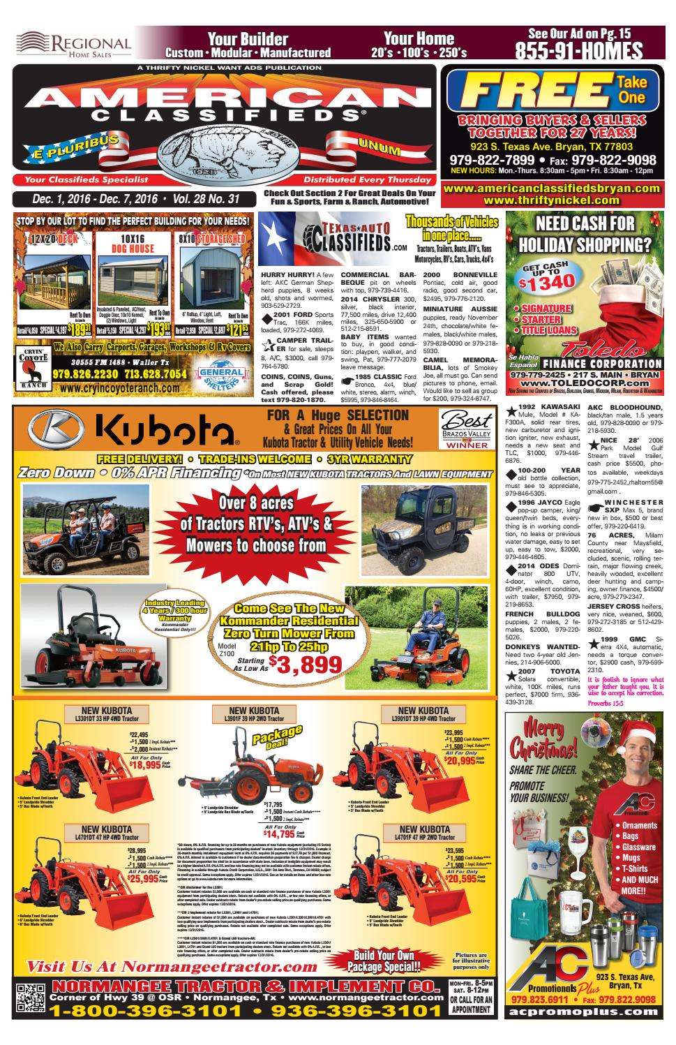 American Classifieds Dec  1st Edition Bryan/College Station
