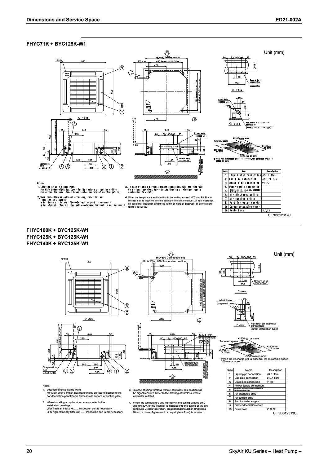 Daikin engineering data split ,skyair ku (fhyc kve,fhy bve) by