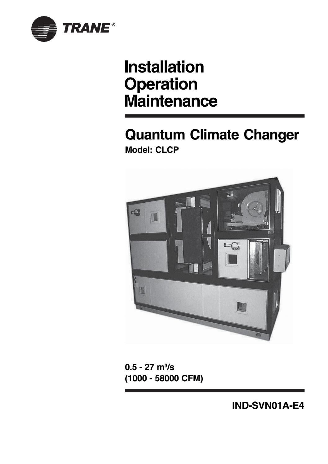 Trane Installation Operation Mantanance Quantum Climate
