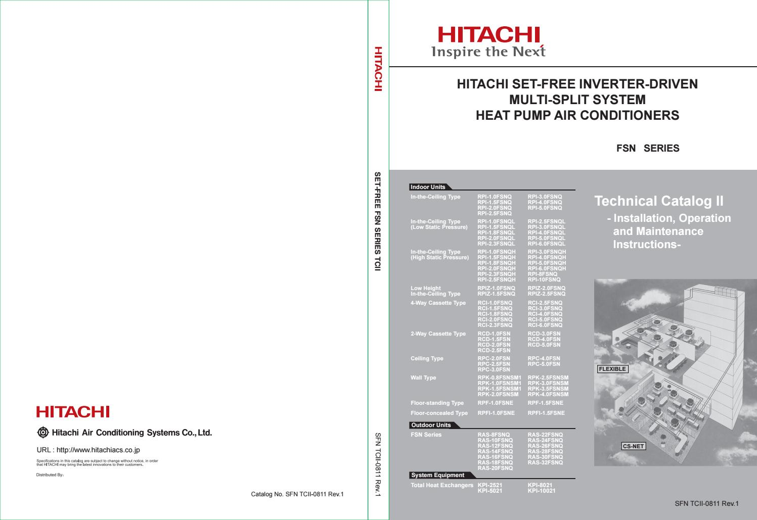 Hitachi Set Free Inverter Driven Multi Split System Heat Pump Fsn Distributor Wiring Diagram Tc2 0811 Rev 1 By Education Vietmastec Issuu