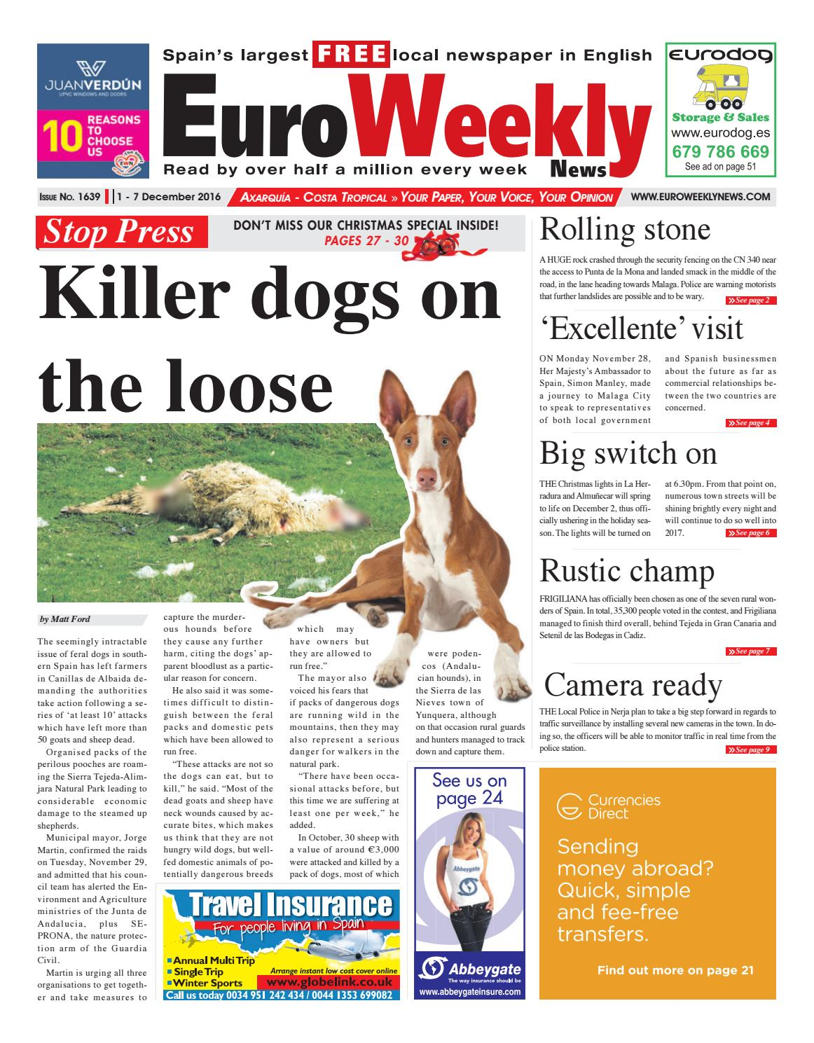 0e4d8790e0f1 Euro Weekly News - Axarquia 1 - 7 December 2016 Issue 1639 by Euro ...