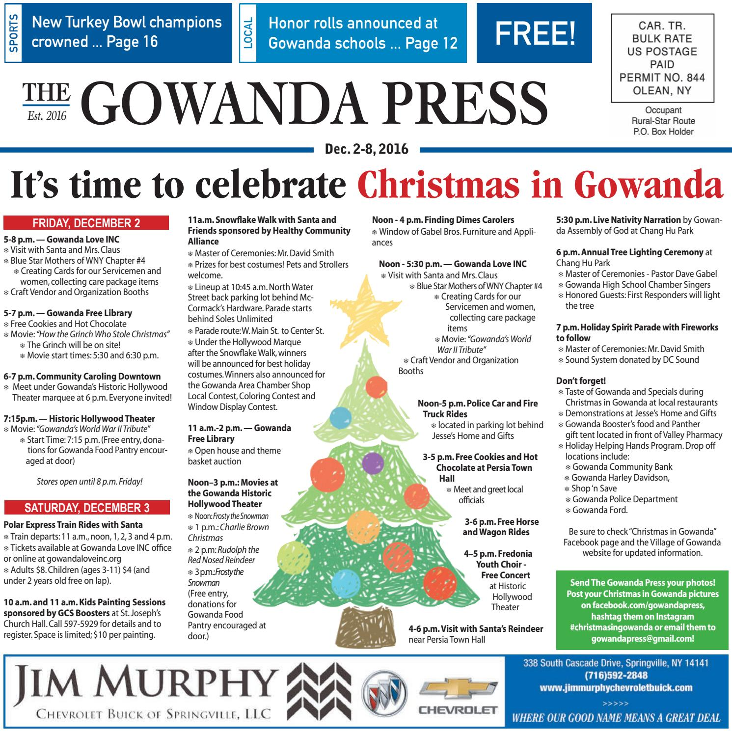 Gowanda Press Dec 2 2016 Edition By Bradford Publishing