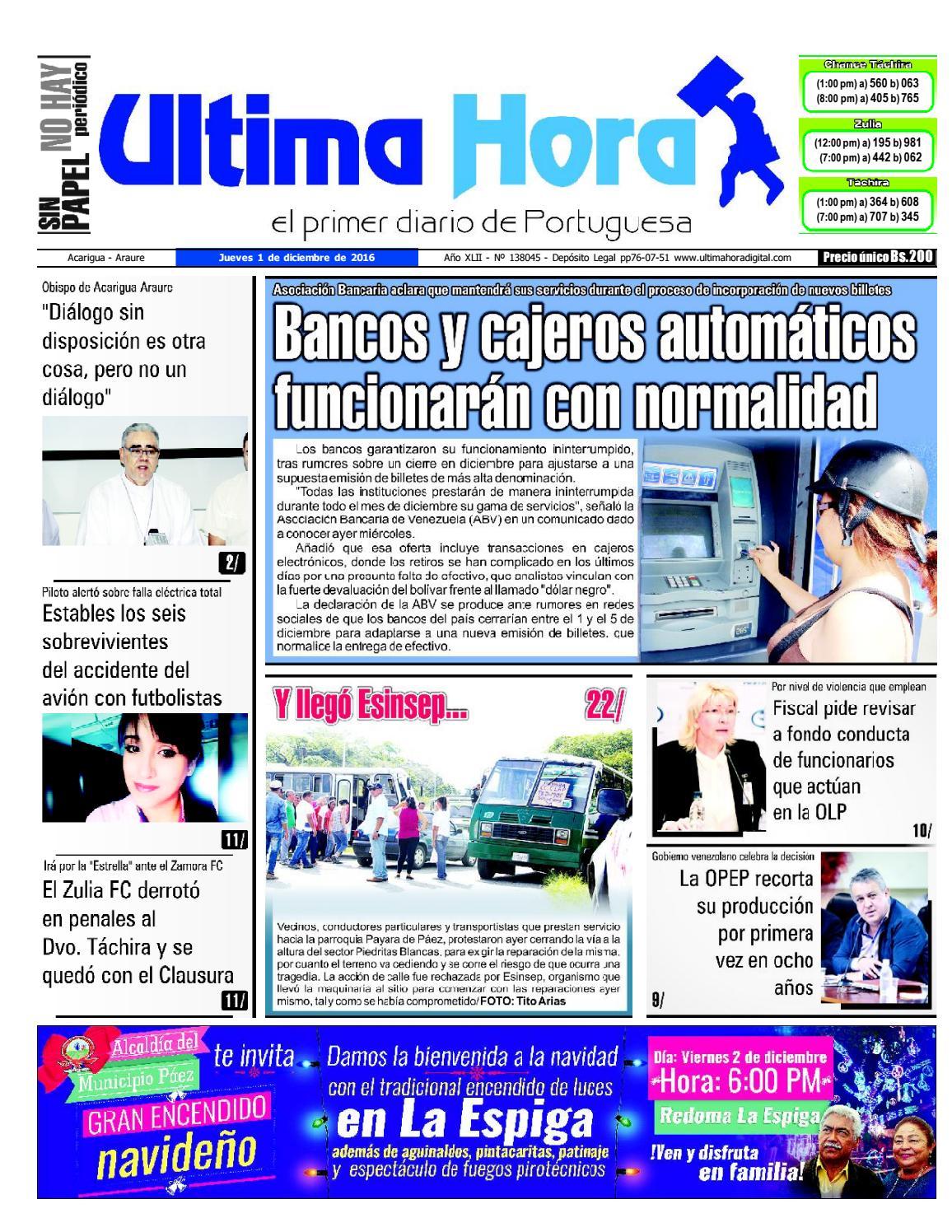 6585c312e Edición 01 12 2016 by Ultima Hora - El primer diario de Portuguesa - issuu