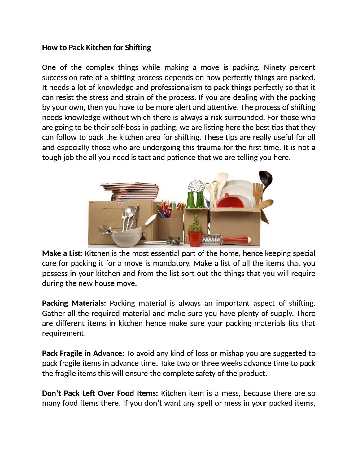 Pack Kitchen Items With Hyderabad Moving SolutionsHow To Pack Kitchen For  Shifting By Anjali Singh   Issuu