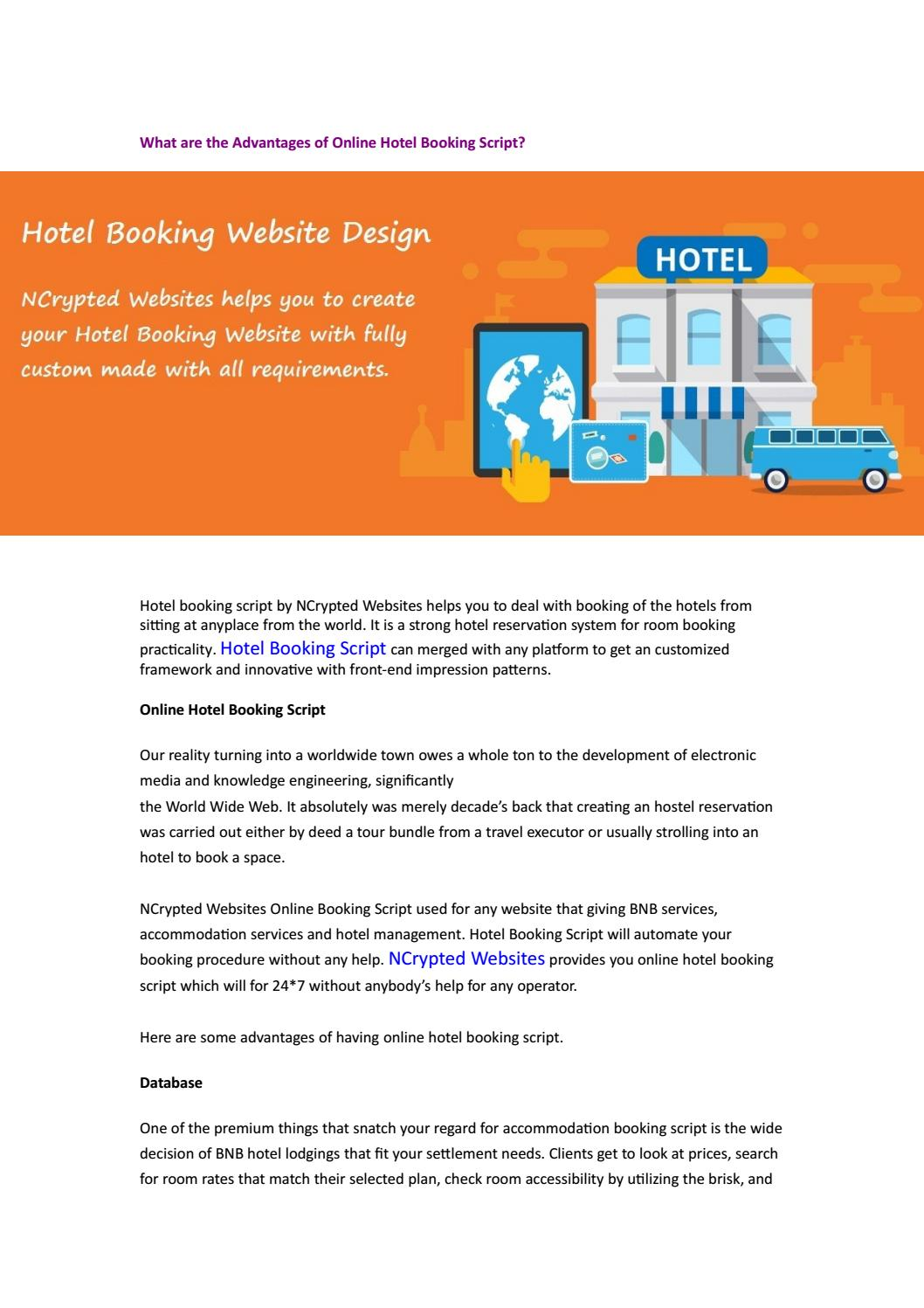 What are the Advantages of Online Hotel Booking Script? by James