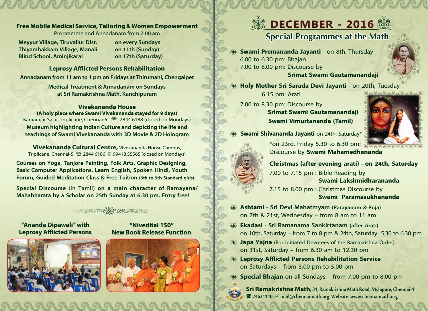 Ramakrishna Math Chennai Program Calendar English - December 2016 by