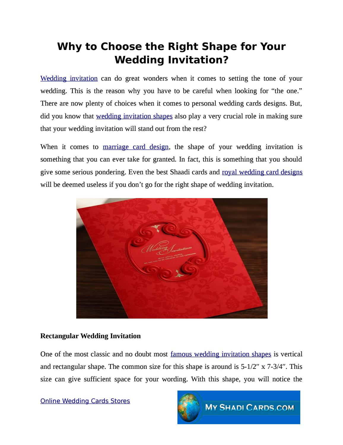 Why to choose the right shape for your wedding invitation by ...