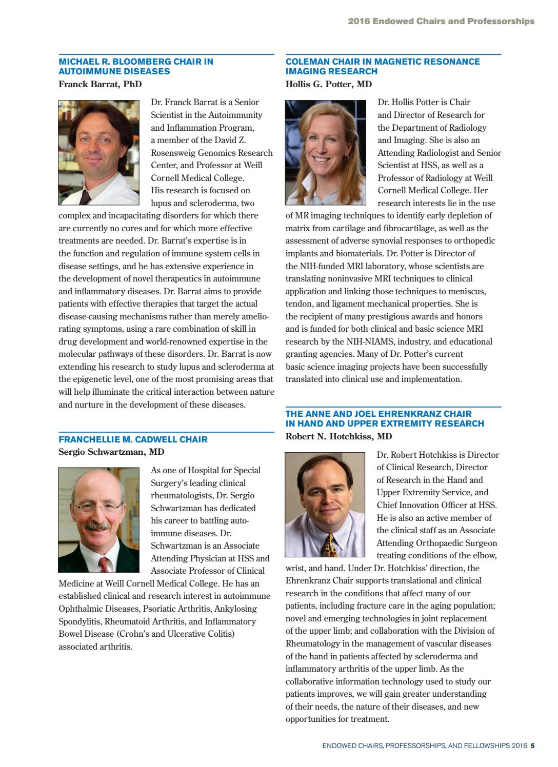 HSS Endowed Chairs, Professorships, and Fellowships 2016 by