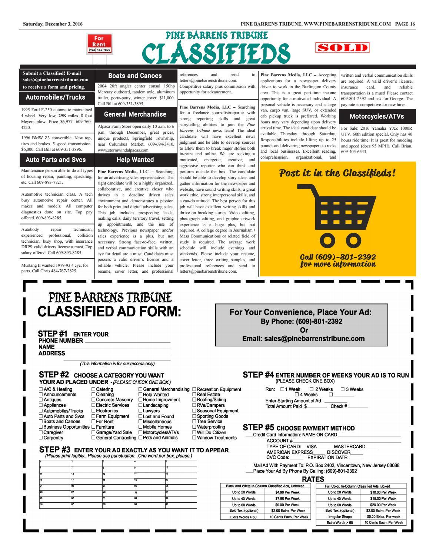 Pine Barrens Tribune December 3 2016 by Pine Barrens Tribune