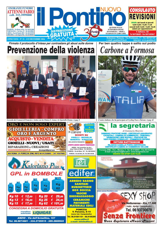 Il Pontino Nuovo - Anno XXXI - N. 21 - 1 15 Dicembre 2016 by Il Pontino Il  Litorale - issuu 860689aad3b9