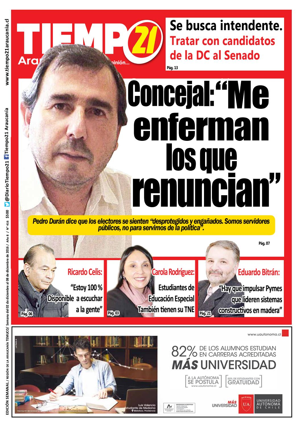 Edici N 416 Concejal Pedro Dur N Me Enferman Los Que Renuncian  # Muebles Jouannet Temuco