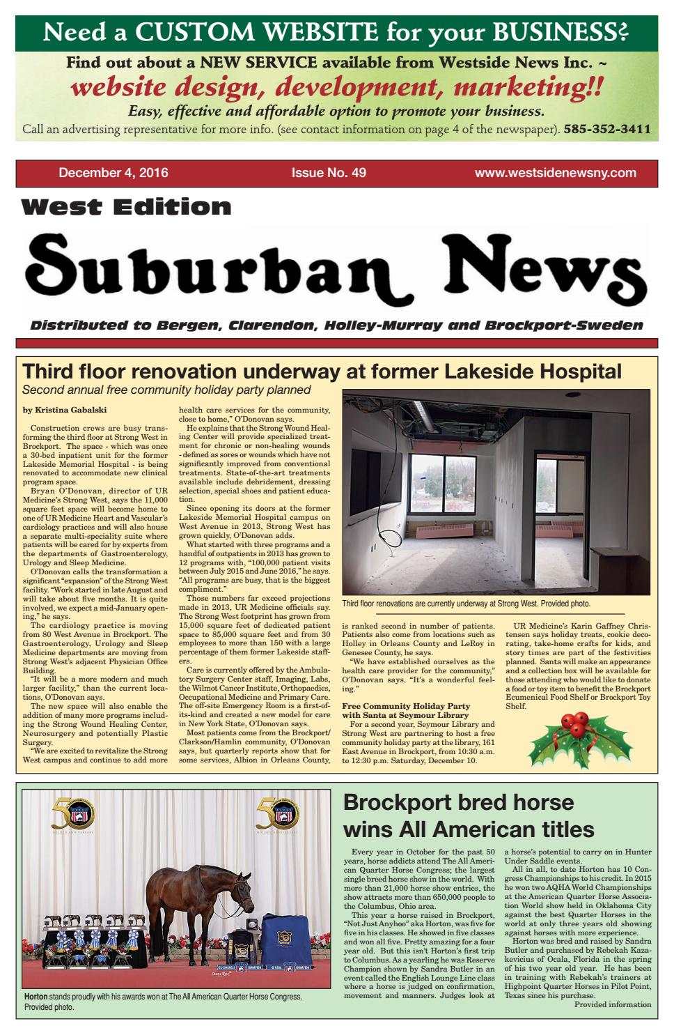 Suburban News West Edition - December 4, 2016 by Westside