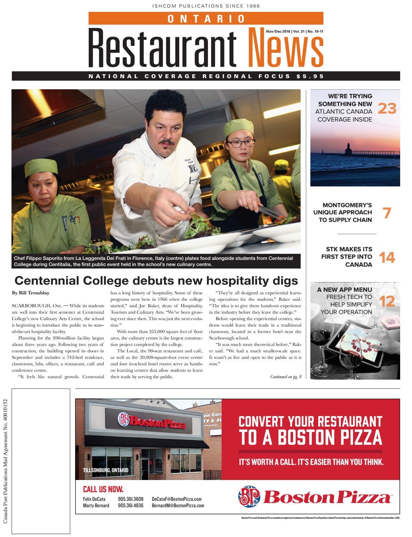 Ontario & Atlantic Canadian Restaurant News November - December 2016 ...