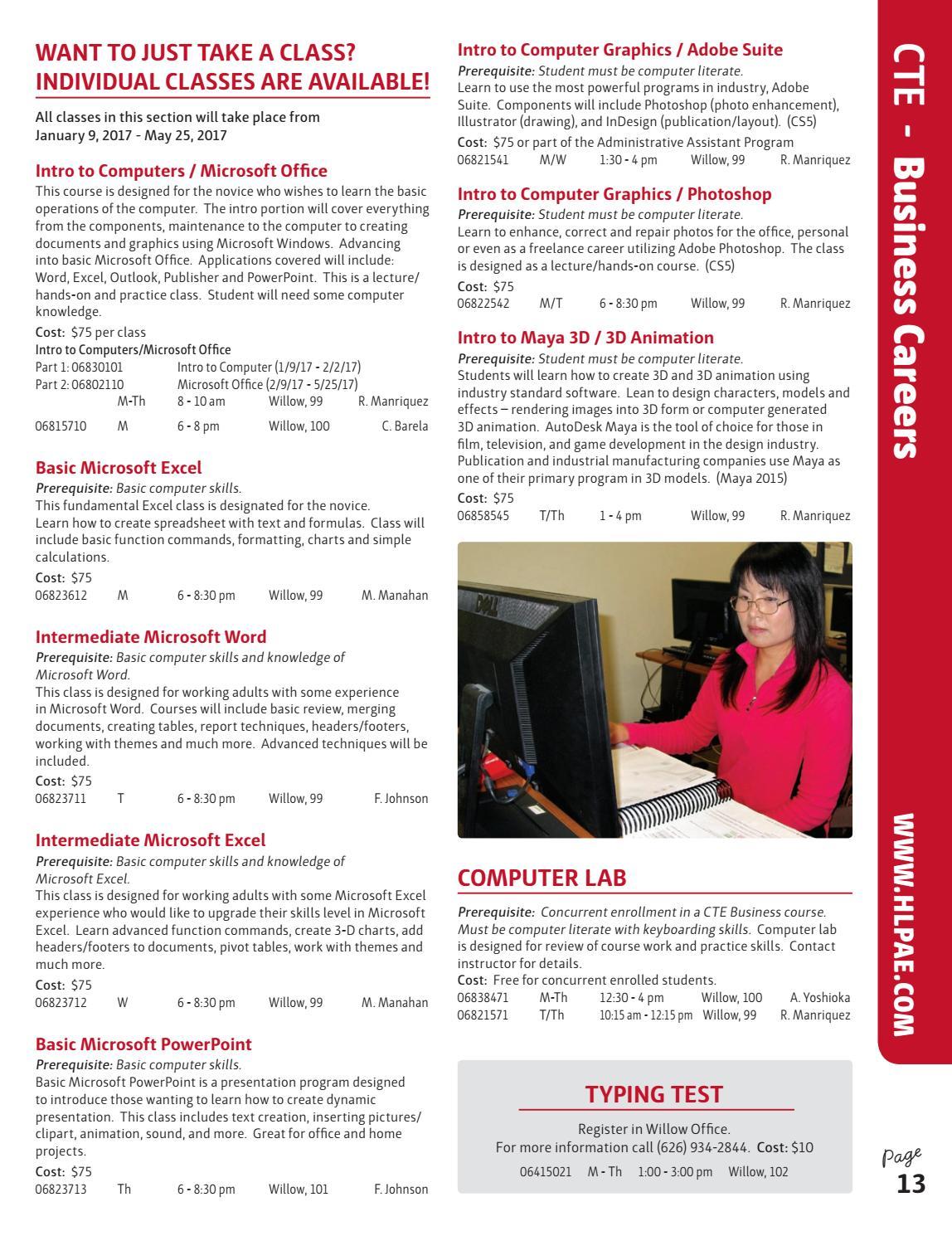 hacienda la puente adult education spring 2017 catalog by q press issuu - Sound Computer Skills