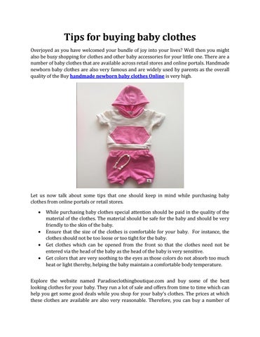 82cca0752 Tips for buying baby clothes by paradiseclothing - issuu