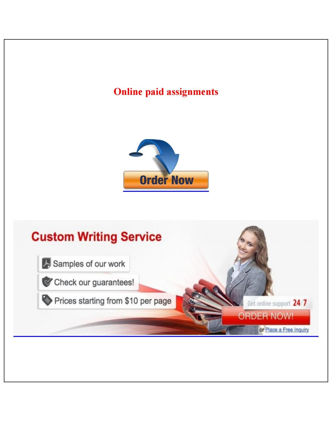 Online paid assignments