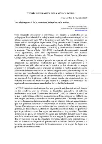 Teoría Generativa De La Música Tonal Tgmt By Alberto Guzmán