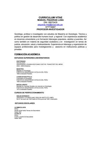 Curriculum Vitae Manuel Piqueras 2016 By Manuel Piqueras Luna Issuu