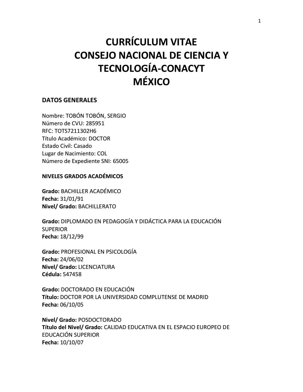 Currículum del Dr. Sergio Tobón by Sergio Tobon - issuu