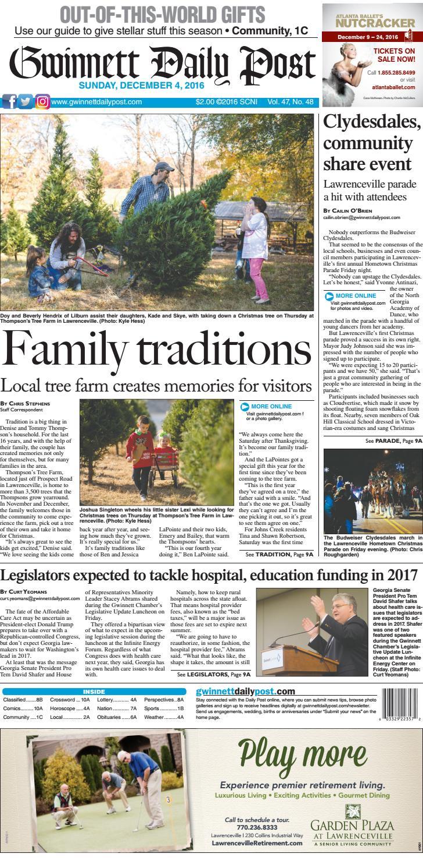 Gwinnett Daily Post — December 4, 2016 by Gwinnett Daily