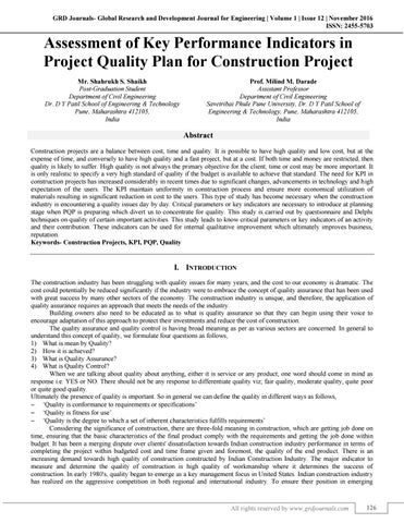 construction project quality plan pdf