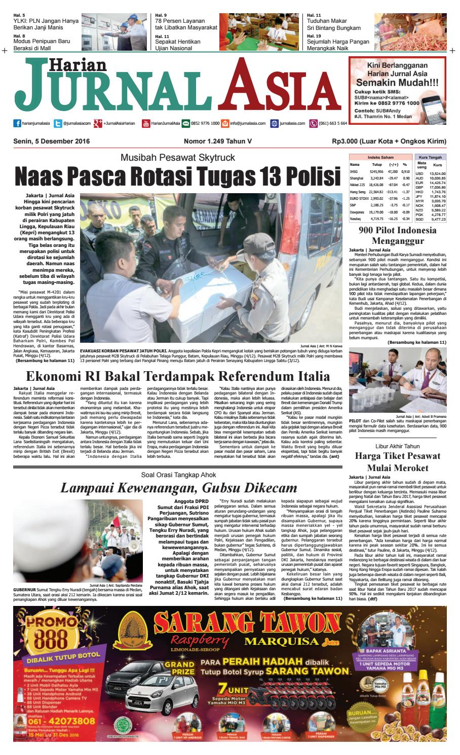 Harian Jurnal Asia Edisi Senin 05 Desember 2016 By Kue Bakpia Kuliner Yulis Saekowati Akumandiri Medan Issuu