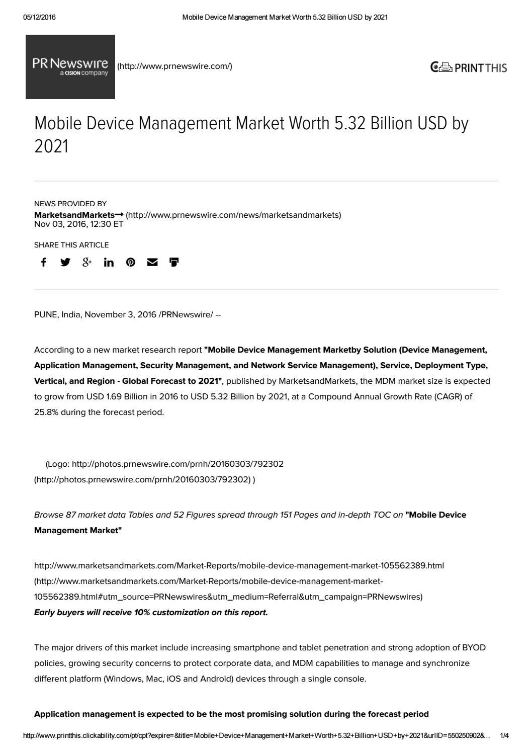 Mobile Device Management Market worth 5 32 Billion USD by