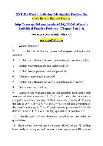 Qnt 561 Week 1 Individual My Statslab Problem Set By