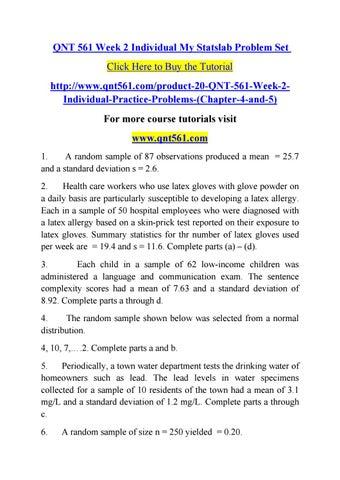 Qnt 561 Week 2 Individual My Statslab Problem Set By