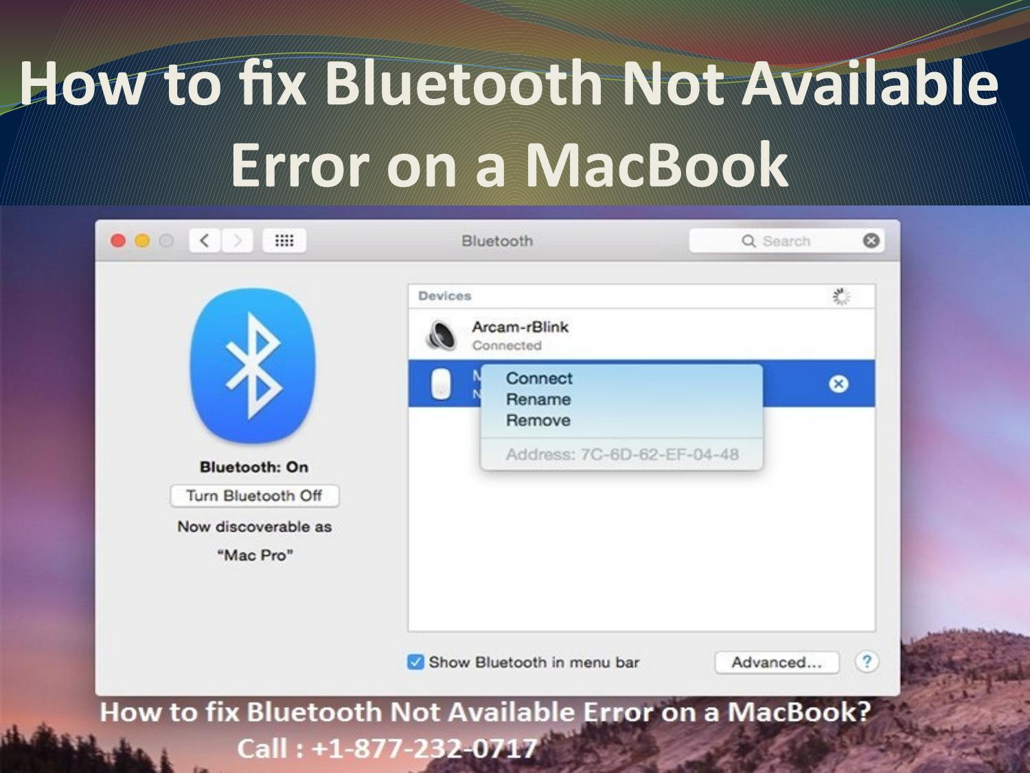 How to fix bluetooth not available error on macbook by Mac Tech