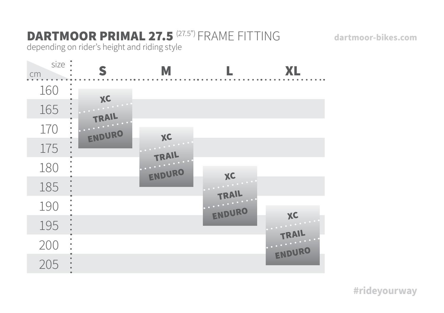 Dartmoor Primal 27 5 Frames And Bikes Size Fitting Chart 2017 By