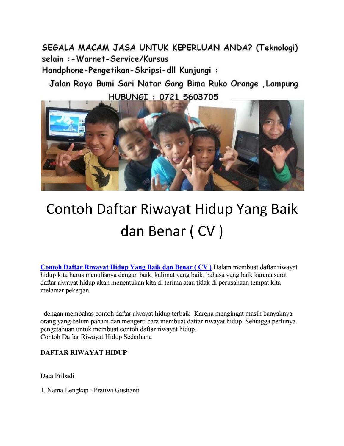 Contoh Daftar Riwayat Hidup Yang Baik Dan Benar Cv By Lampung