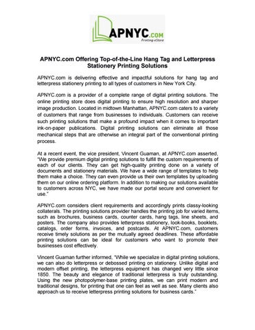 apnyc com offering top of the line hang tag and letterpress