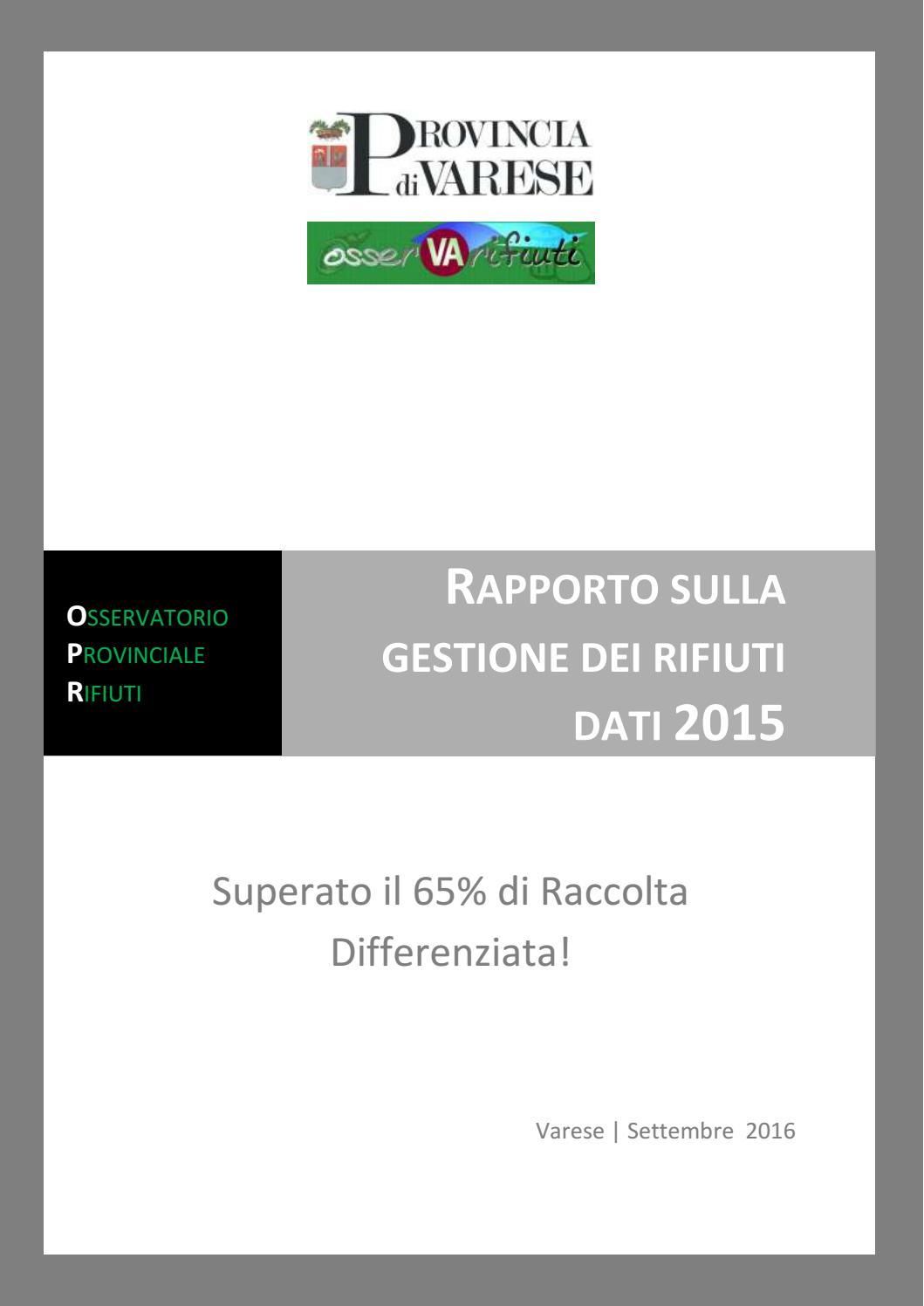 Calendario Coinger 2020.Rapporto Annuale Rifiuti Provincia Di Varese Dati 2015
