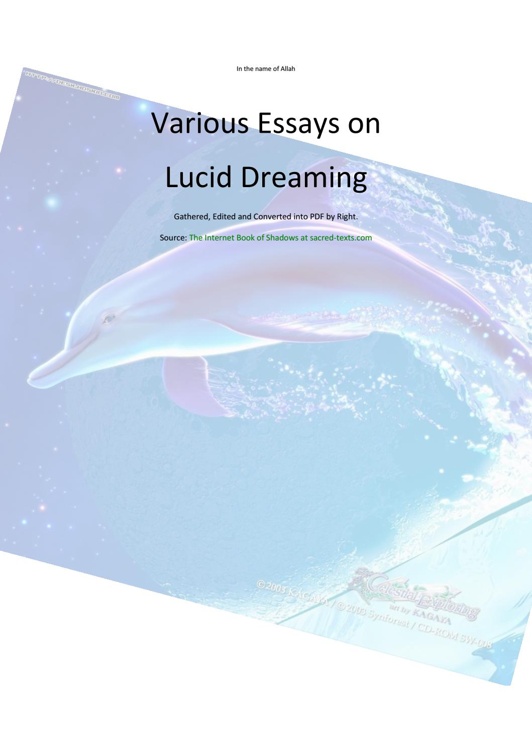lucid dream essay The author of this essay the art of lucid dreaming casts light on the art of lucid dreaming that has been one of the most eye-catching and enthralling.
