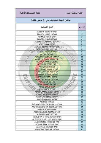بالأسماء.. الصيادلة ترسل قائمة بـ 1688 صنف دوائي ناقص إلي رئاسة ... 0342dd37fe06
