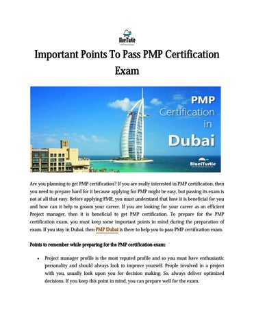 Blueiturtle - Important points to pass PMP Certification Exam by ...