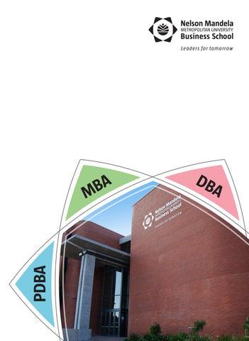 MBA PDBA DBA NMMU Business School 2017 By NMMU Business