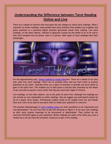Difference between tarot reading online and live by Aditi Rao - issuu