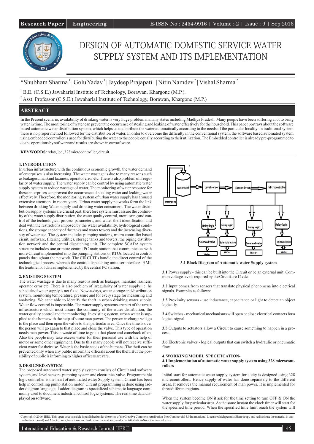 Design Of Automatic Domestic Service Water Supply System And Its Implementation By International Education And Research Journal Issuu