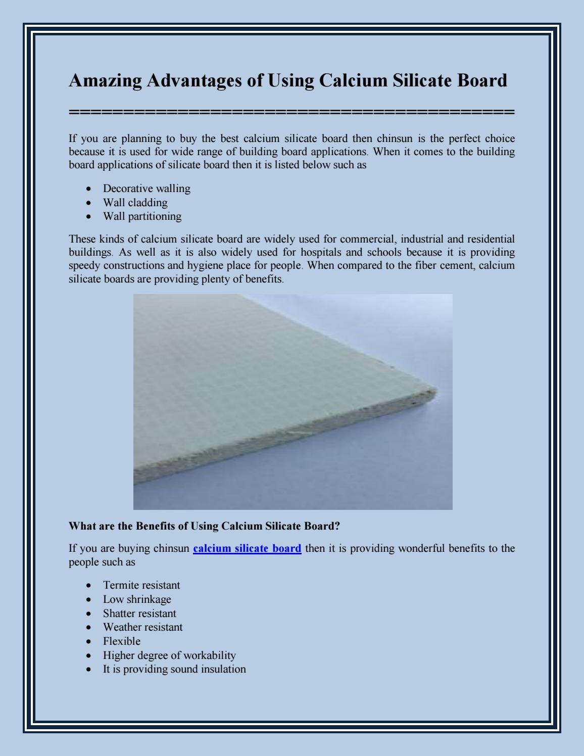 Bulkhead And Calcium Silicate Board : Amazing advantages of using calcium silicate board by
