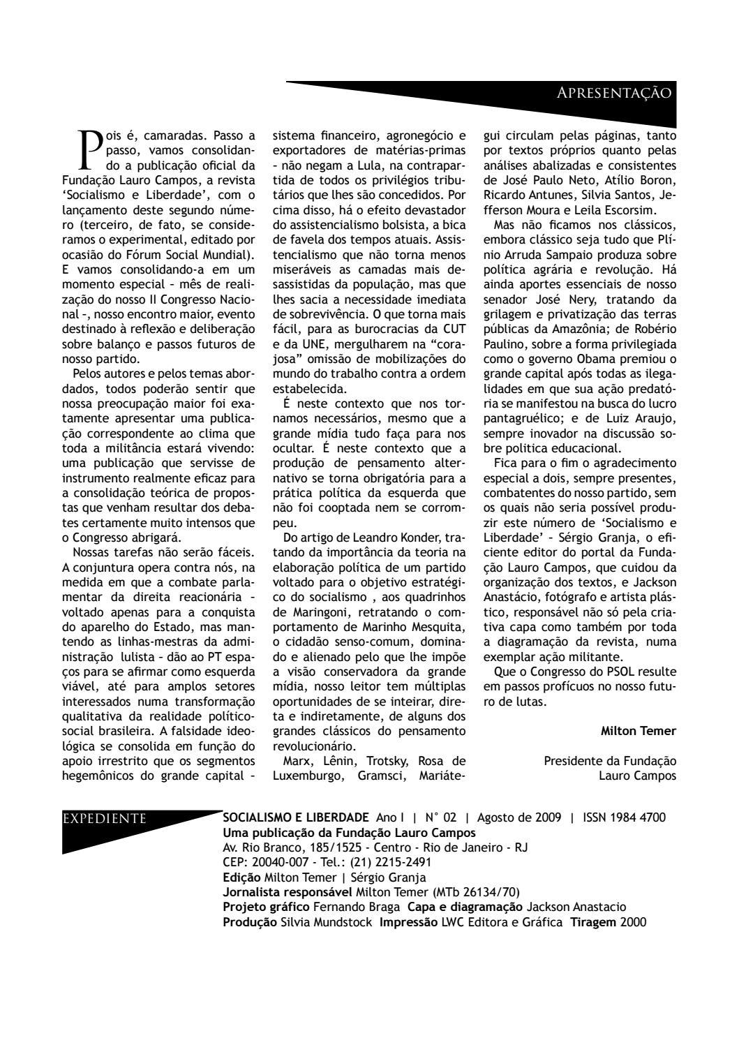 0e41464dee8 Revista SOCIALISMO E LIBERDADE N° 02