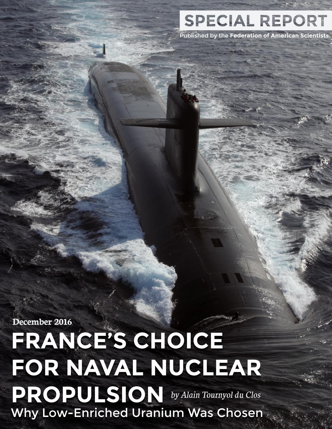France's Choice for Naval Nuclear Propulsion: Why Low