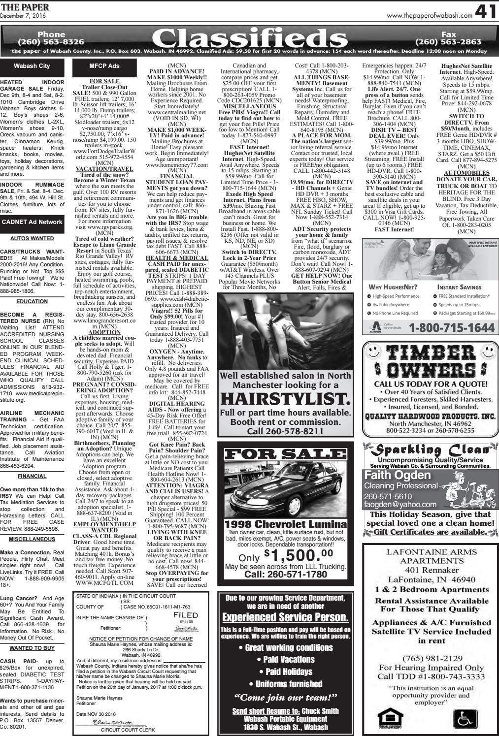 The Paper of Wabash County - Dec  7, 2016, issue by The