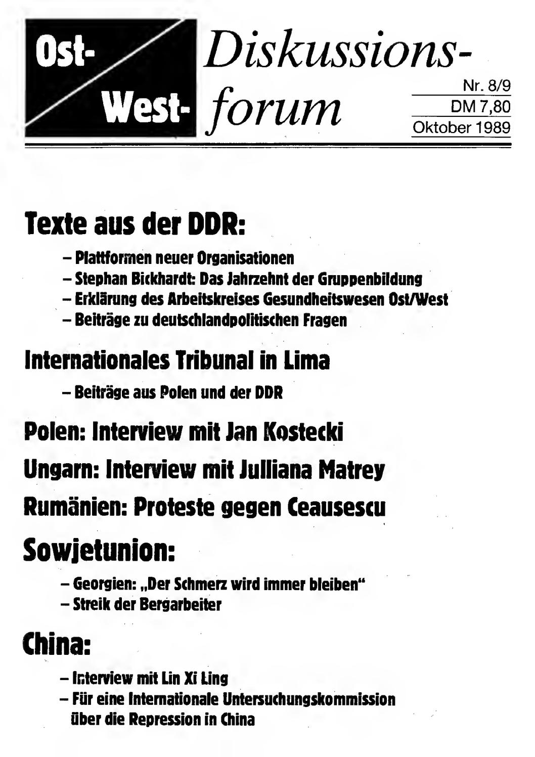 1989-10 Ost-West-Diskussionsforum Nr 8-9 by IFM-Archiv Sachsen e. V ...
