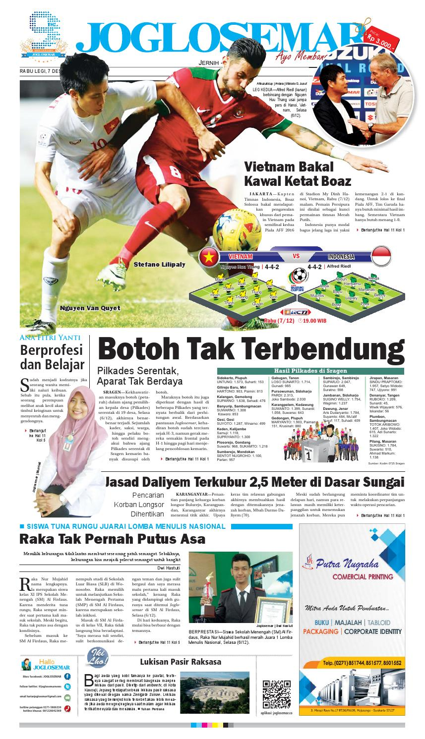E Paper 07 Desember 2016 By PT Joglosemar Prima Media Issuu