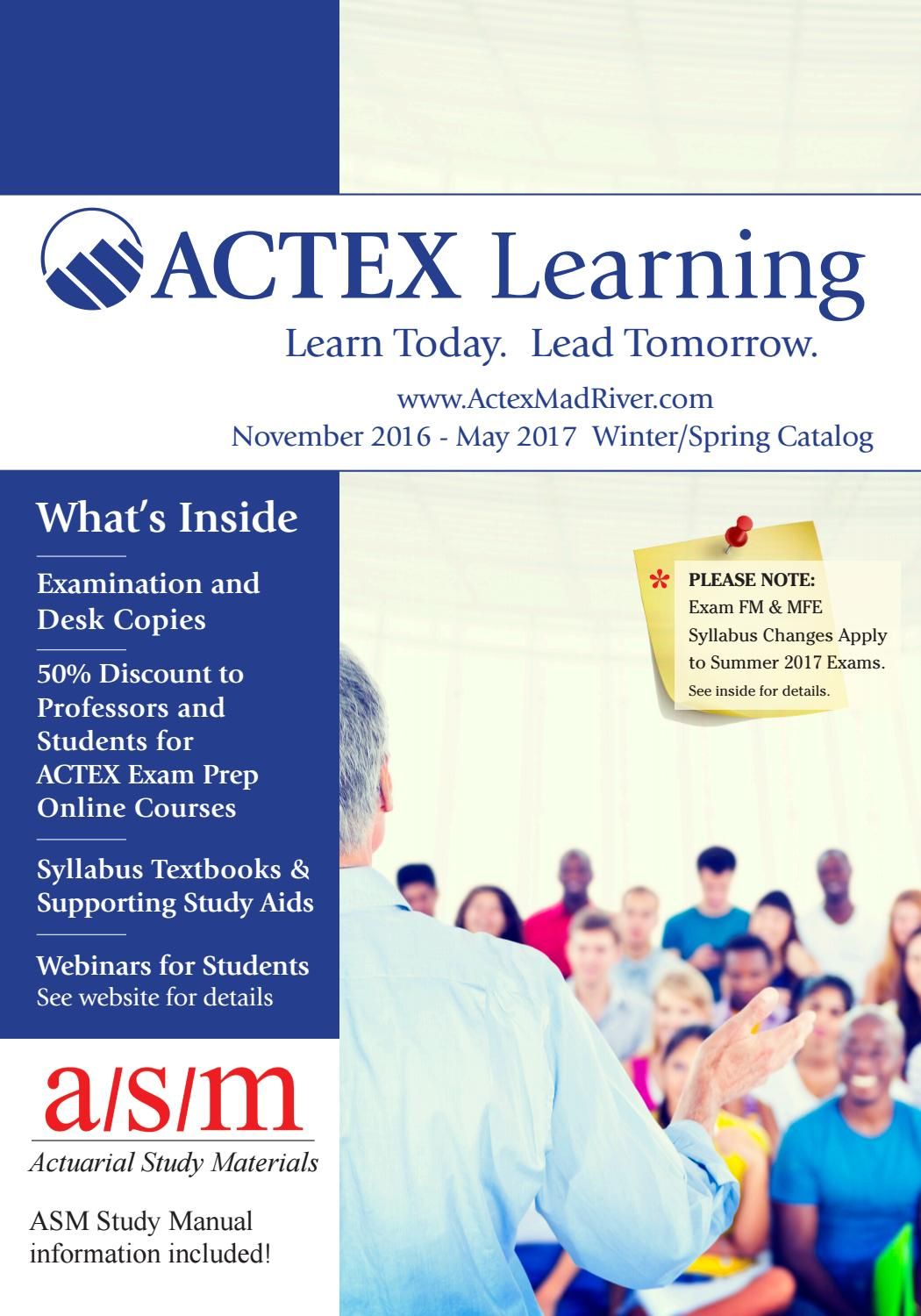 ACTEX Learning Catalog for Professor/Student Customers by ACTEX Learning -  issuu