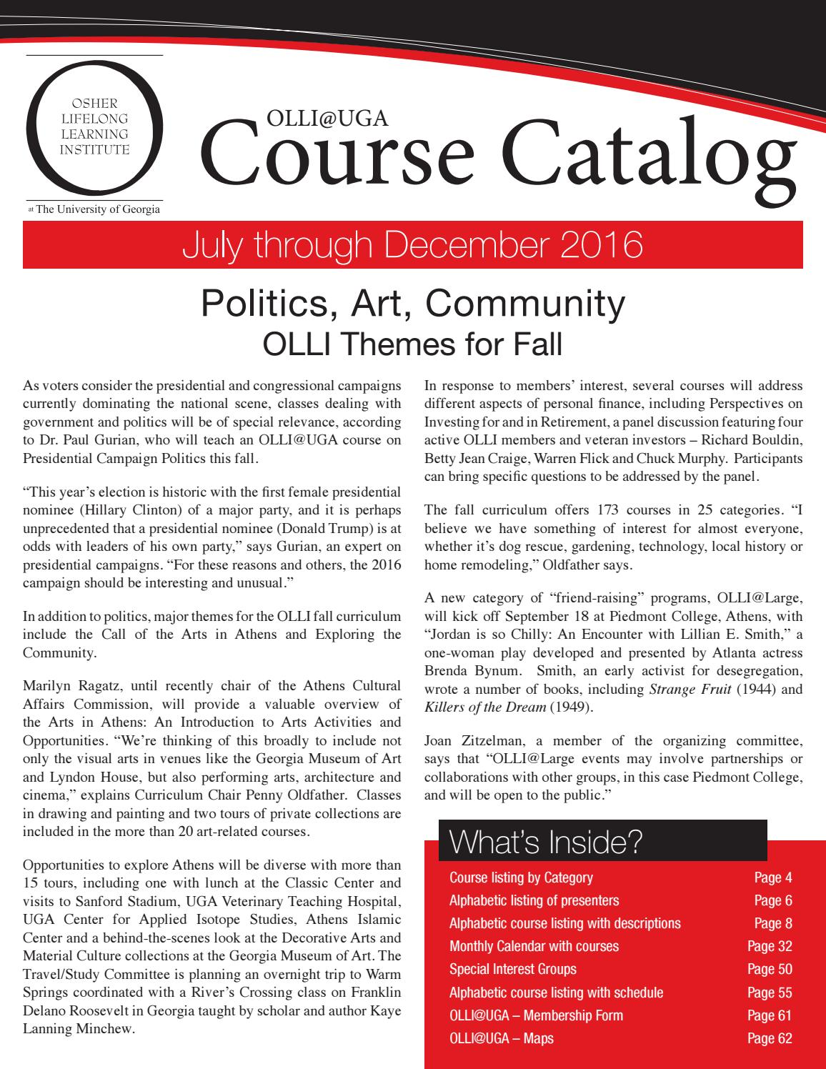 2016 course catalog july december 2016 by University of Georgia