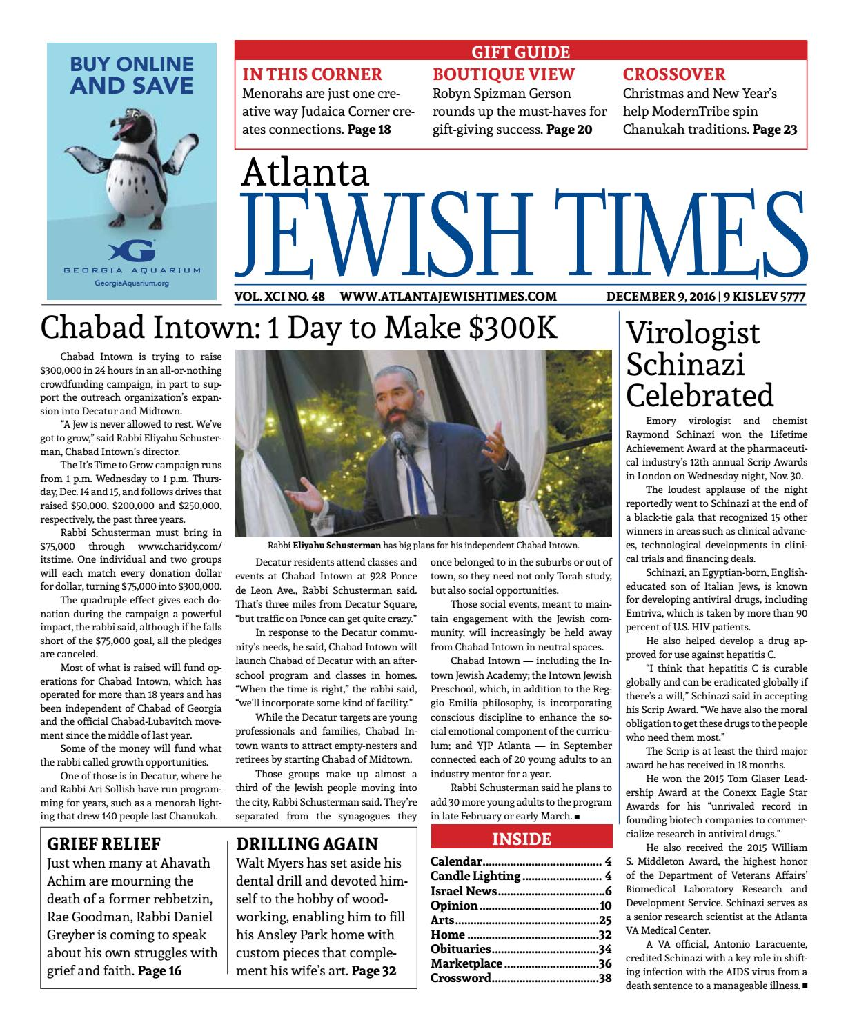 Atlanta Jewish Times, Vol. XCI No. 48, December 9, 2016 by Atlanta ...